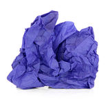 Blue Tissue Paper. Crumpled blue tissue paper over white background Royalty Free Stock Photography