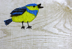 Blue tit draw with 3D printing pen Royalty Free Stock Images