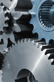 Blue titanium and steel gears Royalty Free Stock Photography