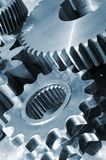 Blue titanium and steel gears Royalty Free Stock Image