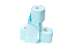 Blue toilet paper isolated on white Royalty Free Stock Images