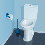Blue toilet room with white ceramic toilet bowl. In the corner there is a glass with a brush for cleaning the toilet, a roll of toilet paper in the holder stock illustration