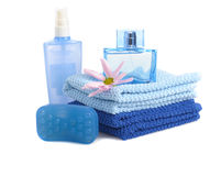 Blue toiletries Royalty Free Stock Photo