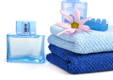 Blue toiletries Royalty Free Stock Photography