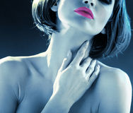 Blue tone picture of the sensual lady Royalty Free Stock Images