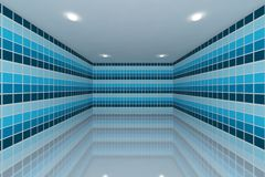 Blue tone tile wall design Stock Image
