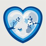 Blue tone of true love. Blue tone. Loving pigeons on a branch. Paper effect stock illustration