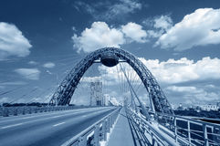 Blue toned cable-stayed bridge Royalty Free Stock Image