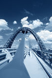 Blue toned cable-stayed bridge Stock Image
