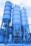 Blue toned chemical factory Stock Images