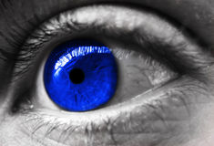 Blue toned eye. Eye close up with blue iris Stock Photos