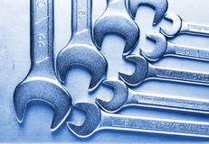 Blue toned fork wrench set Royalty Free Stock Images