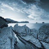 Blue toned landscape of Adriatic Sea coast Stock Image
