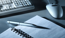 Blue toned office tools Royalty Free Stock Images