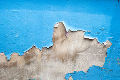 Blue tones texture of shabby paint and plaster cracks Royalty Free Stock Photos