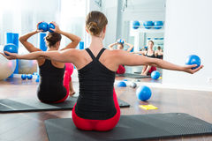 Blue toning ball in women pilates class rear view. Pilates toning ball in women fitness class rear mirror view stock images