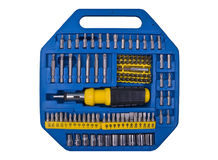 Blue tools. Tool set in blue box stock image
