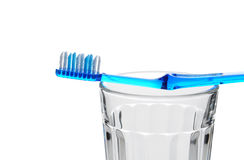 Blue Toothbrush 0n Glass Stock Image