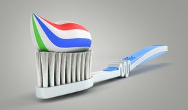 blue toothbrush with toothpaste close up 3d render on a grey background stock illustration