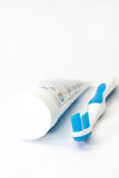 Blue toothbrush and toothpaste Royalty Free Stock Photo