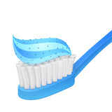 Blue toothbrush and whitening toothpaste Stock Photography