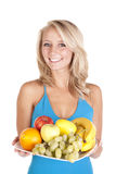 Blue top fruit plate Royalty Free Stock Photo