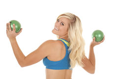 Blue top green balls back smile Stock Image