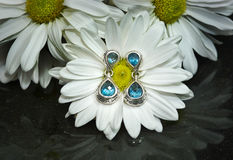 Blue Topaz Earrings with White Gerbera Daisies Royalty Free Stock Photo