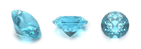 Blue topaz gems Stock Photos