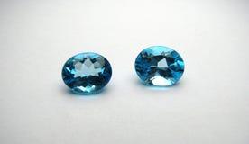 Blue Topaz Gemstones. Two Brazilian blue topaz gemstones Royalty Free Stock Photo