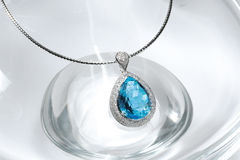 Blue topaz necklace Stock Images