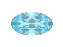 Blue topaz. Oval form. Royalty Free Stock Photo