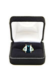 Blue topaz ring in box Stock Images