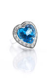 Blue topaz surrounded with diamond ring Stock Images