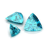 Blue Topaz trilliant cutting. Background diamond shape illustration 3D rander royalty free illustration