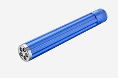 Blue torch. Blue LED hand torch against white background Stock Photography