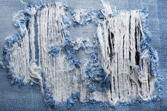 Blue torn denim jeans texture with space for text Stock Photography