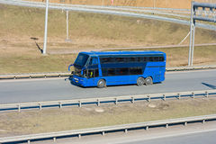 Blue tour bus Royalty Free Stock Photo