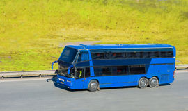Blue tourist bus Royalty Free Stock Photos