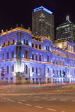 Blue tourist site brisbane portrait 1. Old building glowing colorful at night Stock Photos