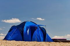Blue tourist tent Royalty Free Stock Photos