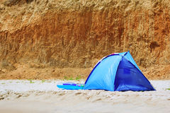 Blue touristic tent Royalty Free Stock Images