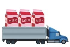 A blue tow trailer truck with three gigantic strawberry pink packaged milk. A computer generated illustration image of a blue tow trailer truck with three stock illustration