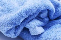 Blue towel. Big blue bath towel closeup Royalty Free Stock Photo