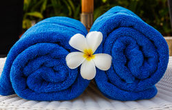 Blue towel in basket Royalty Free Stock Photos