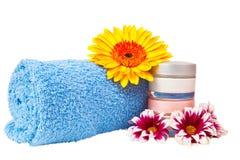 Blue towel cream gerbera Royalty Free Stock Photography