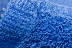 Blue towel macro Stock Photos