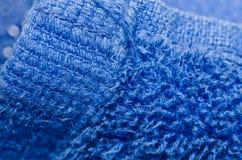 Blue towel macro Stock Photos