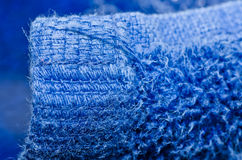 Blue towel macro Stock Image