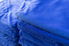 Blue towel softness fluffy fiber fabric of textile fabric Stock Photography